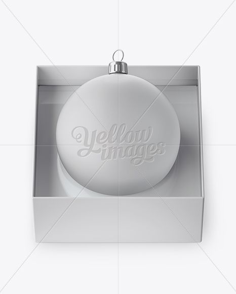 Matte Christmas Ball in Paper Box Mockup (High-Angle Shot)