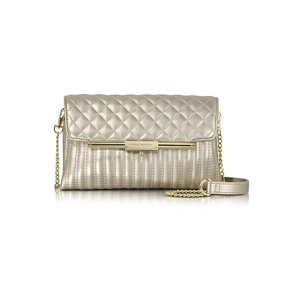 Roccobarocco Designer Handbags Laminated Quilted Eco Leather Clutch (€86) ❤ liked on Polyvore featuring bags, handbags, clutches, gold, quilted purses, flap handbags, quilted handbags, brown handbags and evening hand bags