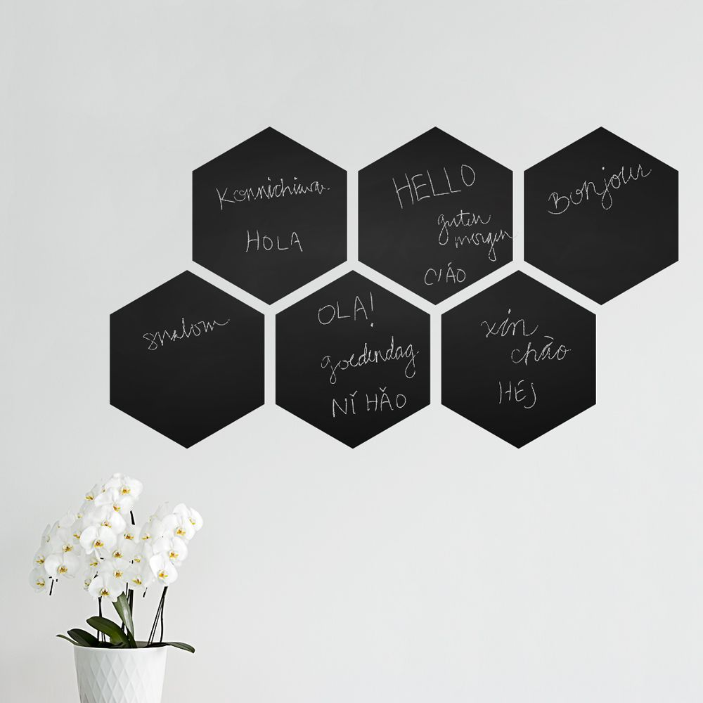 Hexagon chalkboard wall decal retro beehive chalkboard hexagon silhouette chalkboard wall decal is the perfect addition to your office bedroom or childs room our premium chalkboard wall decal is super easy to amipublicfo Gallery