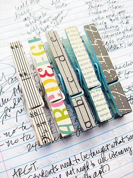 Clothes pins covered with decorative paper for office supplies