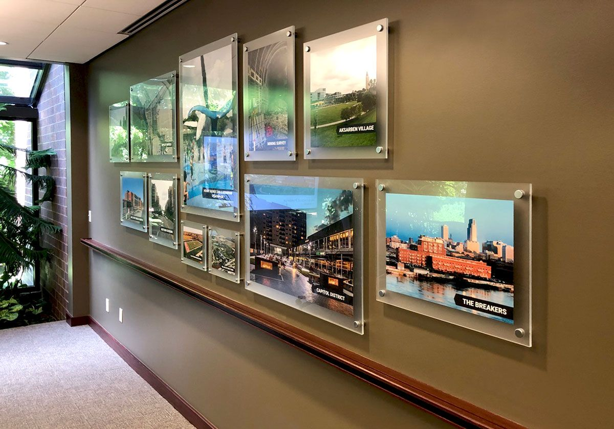 Acrylic Frameless Poster Displays Mounted To Walls On Standoff Supports Poster Display Poster Frame Display Frames