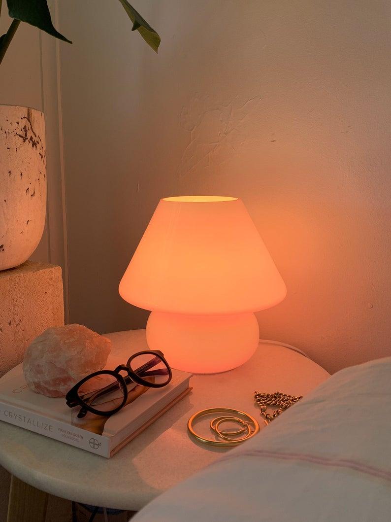 Pink Mushroom Lamp, Coloured Murano style Glass Lamp, Bedside Table Lamp, Desk Lamp, Bubblegum Lamp, Hot Pink, Blue, Green, White,
