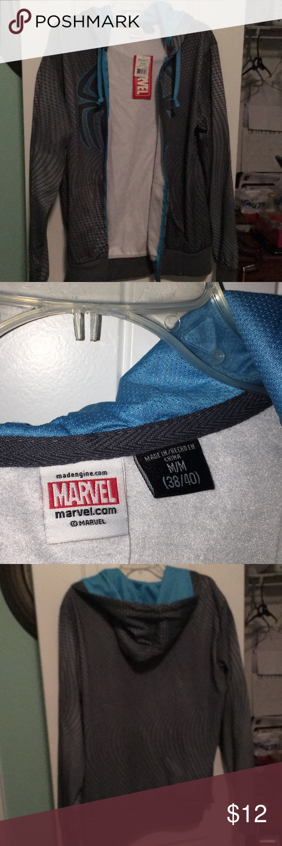 Marvel jacket It is gray and teal has the spider in the front it has a hood. It has never been worn brand new. Comes from smoke and pet free home. Thanks for looking. Marvel Jackets & Coats Windbreakers