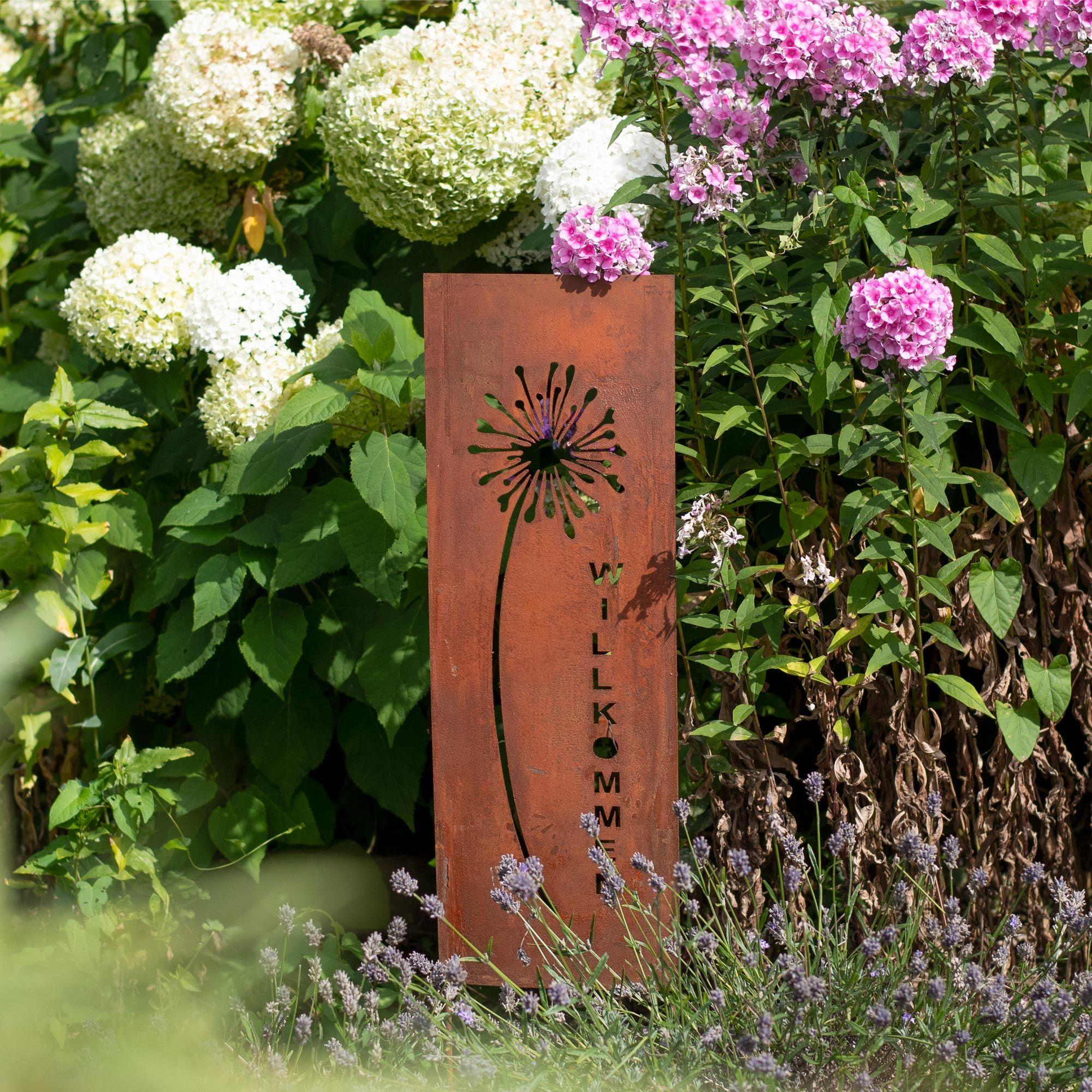 Gartendeko Gartenstecker Aus Edelrost Metall Schild Pusteblume 133 Cm Für Garten Terrasse Balkon Garten Deko Gartenstecker Edelrost