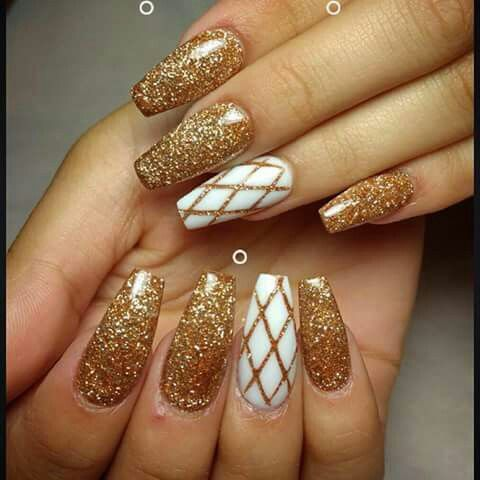 Love These Gold White Tony Ly Nails Gold Nail Designs Gold Nails Prom Nails
