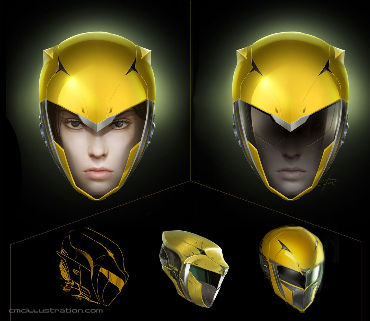 Yellow Ranger Helmet Redesign | 2D | Power rangers comic ...