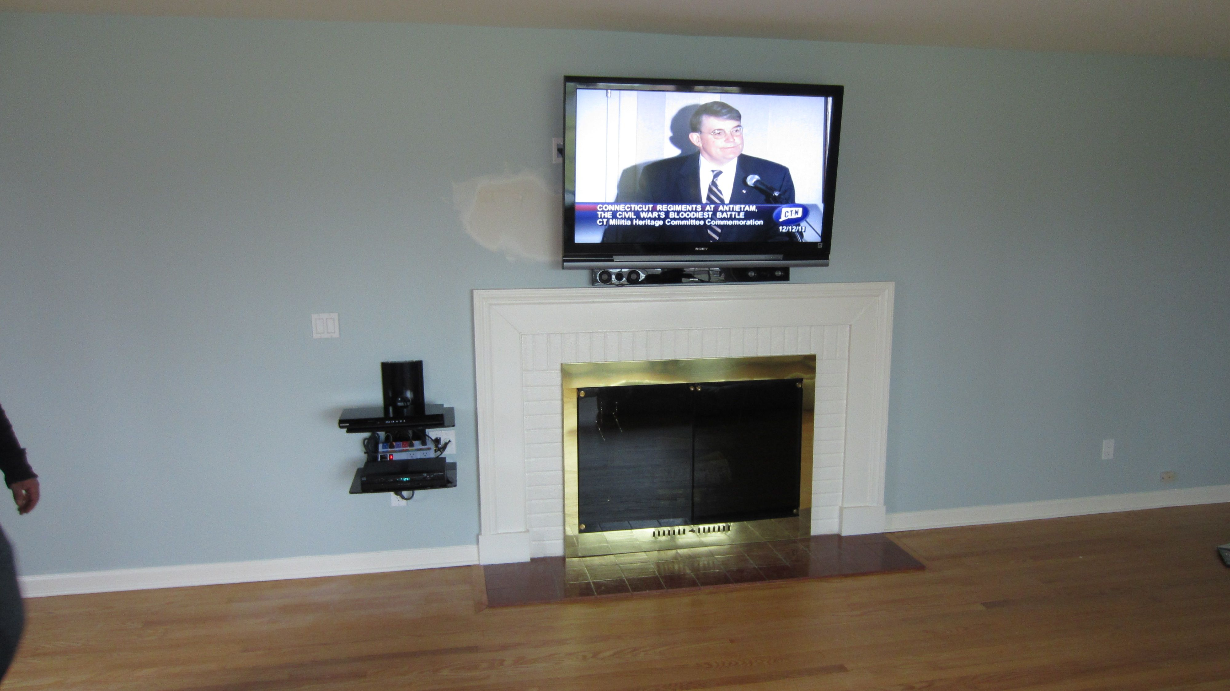Tv And Surround Sound System Over Fireplace New Fairfield Ct Tv