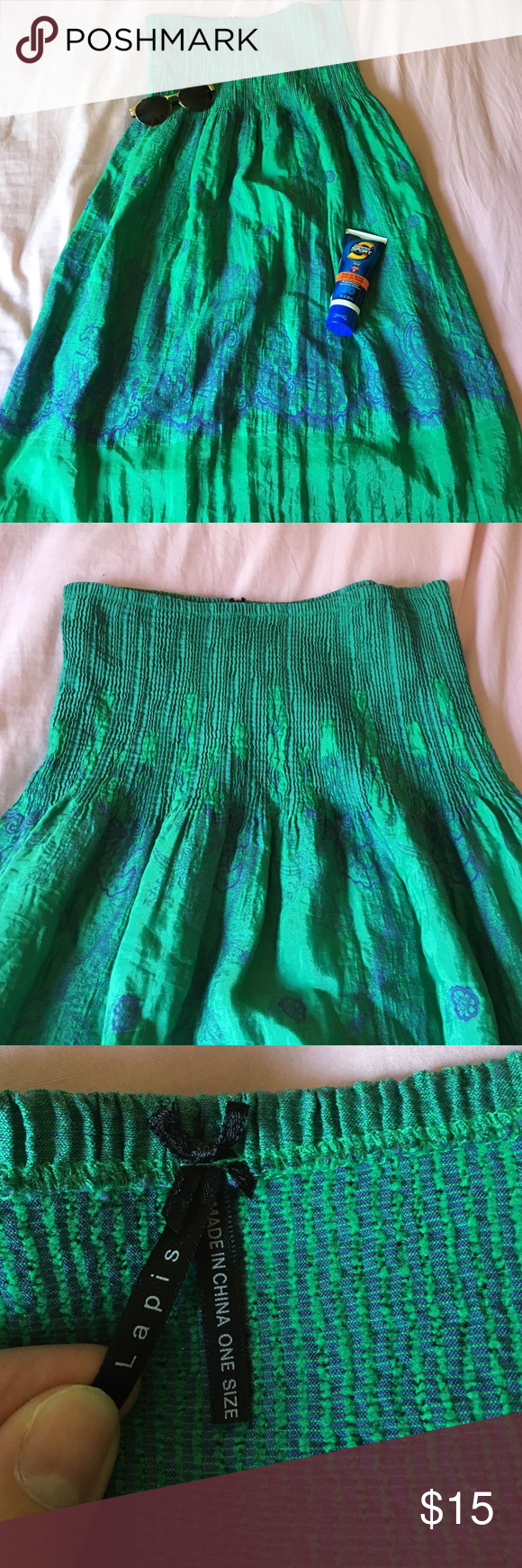 Green Sun Dress Brand new green and purple one size fits all strapless sun dress. Very cute and summery! Lapis Dresses Strapless