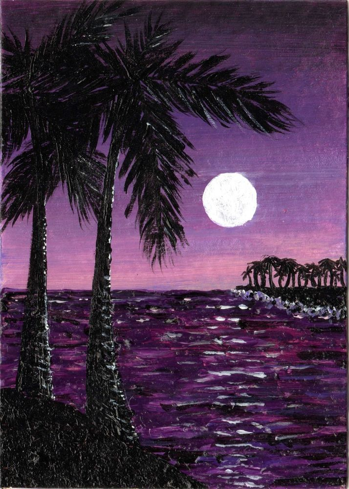 Ebay 9 99 Aceo Original Art Ocean Water Moon Palm Tree