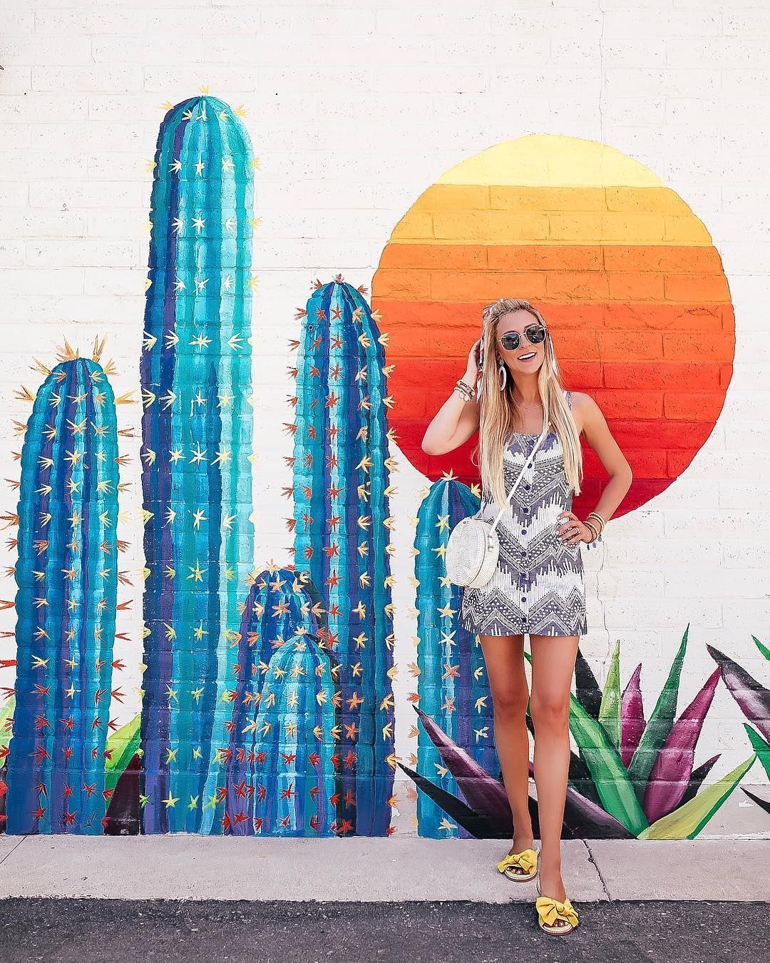 Most Instagrammable Wall In Scottsdale It S That Hot Sunset Mural Outside Of Geisha A Go Go In Old Town 7150 Murals Street Art Mural Art Mural Wall Art