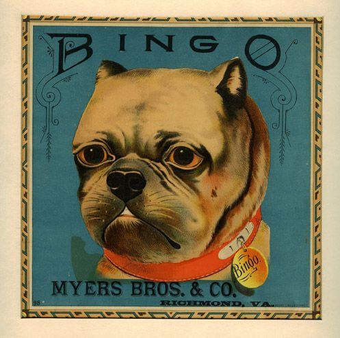 19th Century Tobacco Label Bingo Pug Dog From