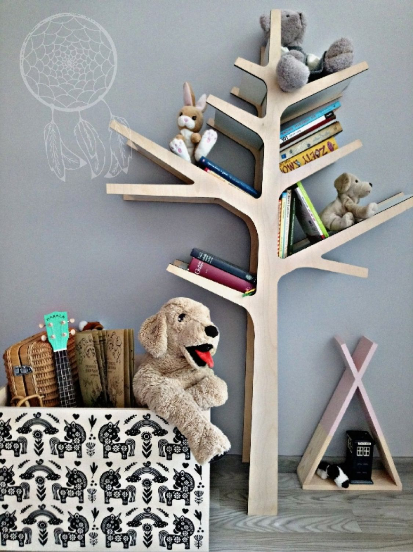 NATURAL TREE SHELF Wooden Bookshelf Bookshelves Handmade Kids Room Shelf Tree Home Organization By