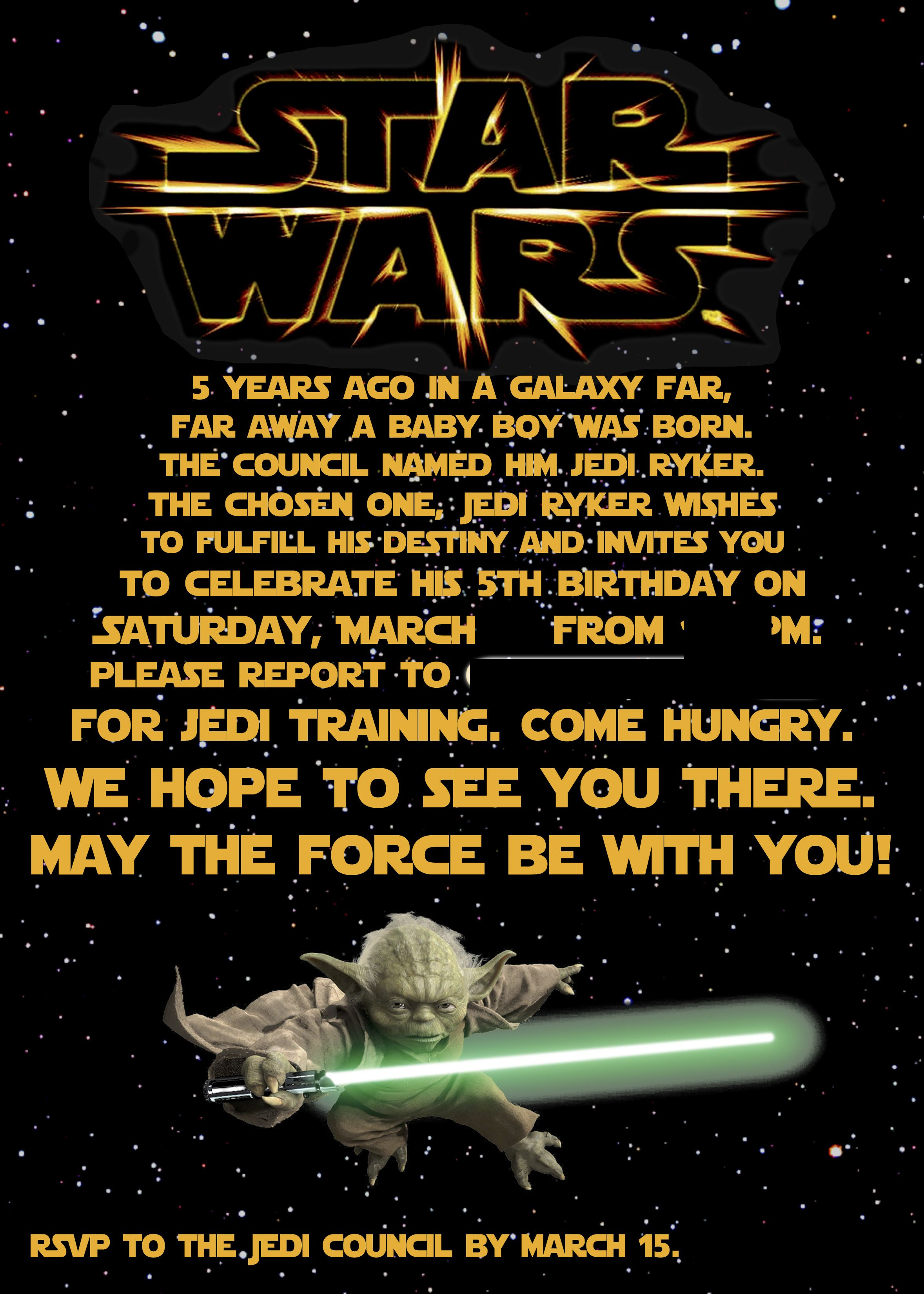 Star Wars Party Invitation | R\'s bday | Pinterest | Star wars party ...