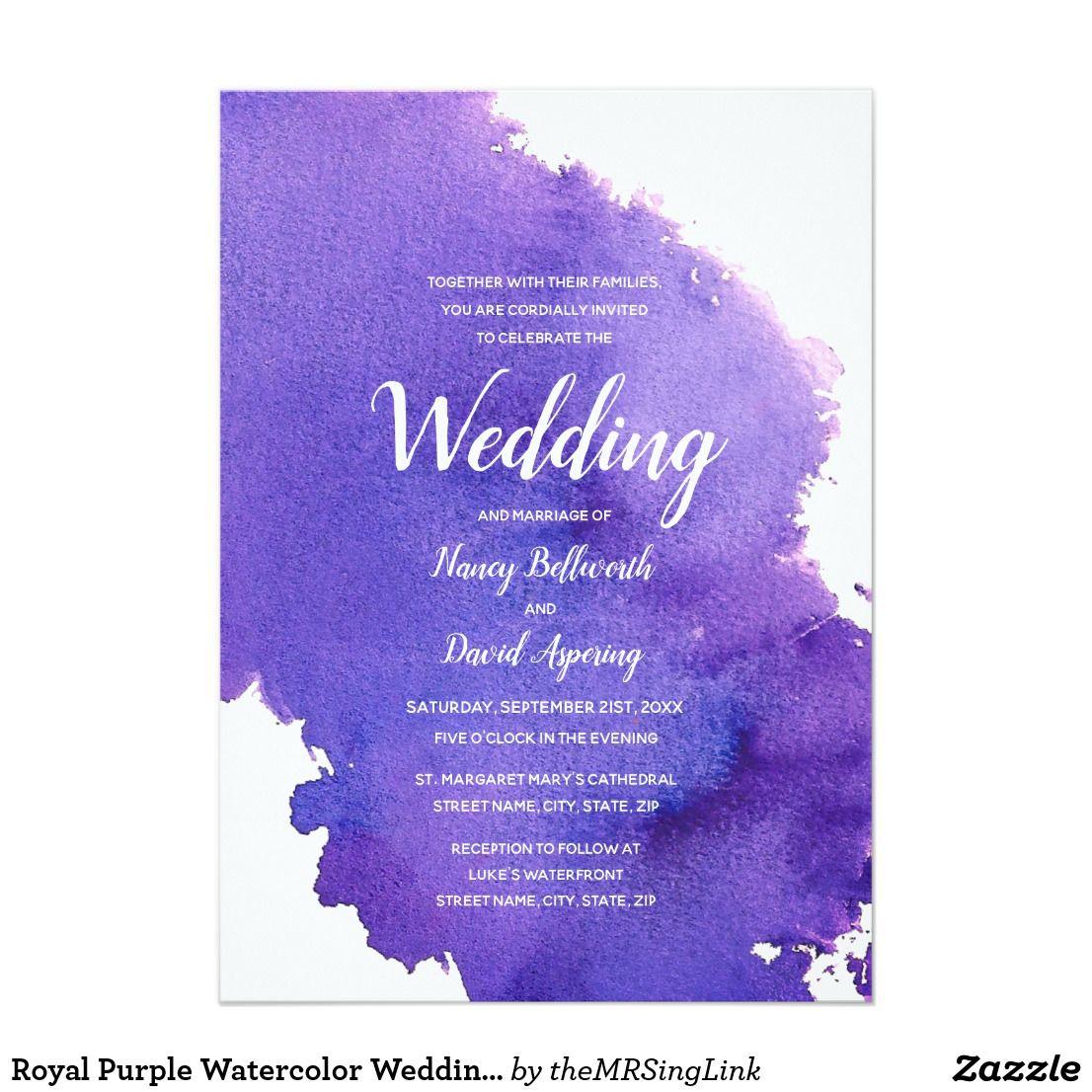 Royal Purple Watercolor Wedding Invitation