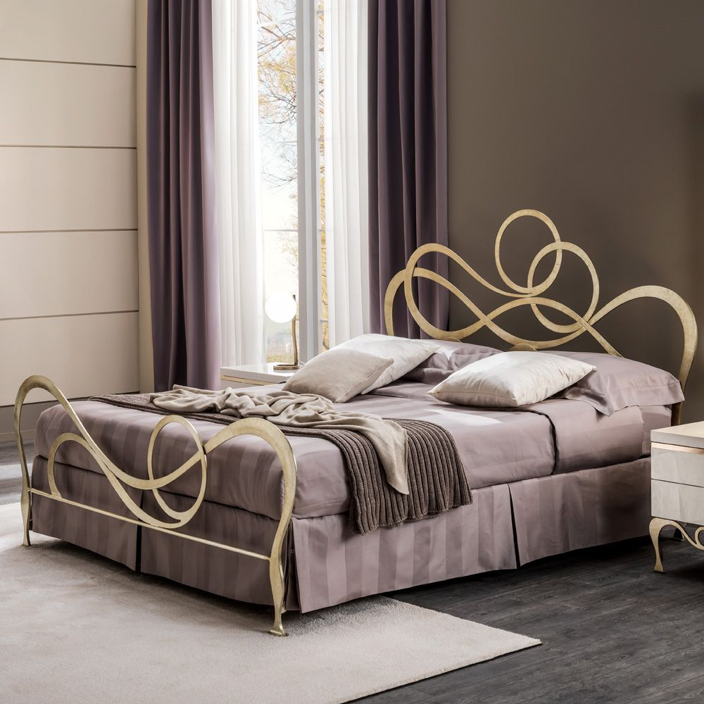 Italian Champagne Leaf Ornate Wrought Iron Bed With Footboard Juliettes Interiors Wrought Iron Beds Iron Bed Wrought Iron Bed Frames