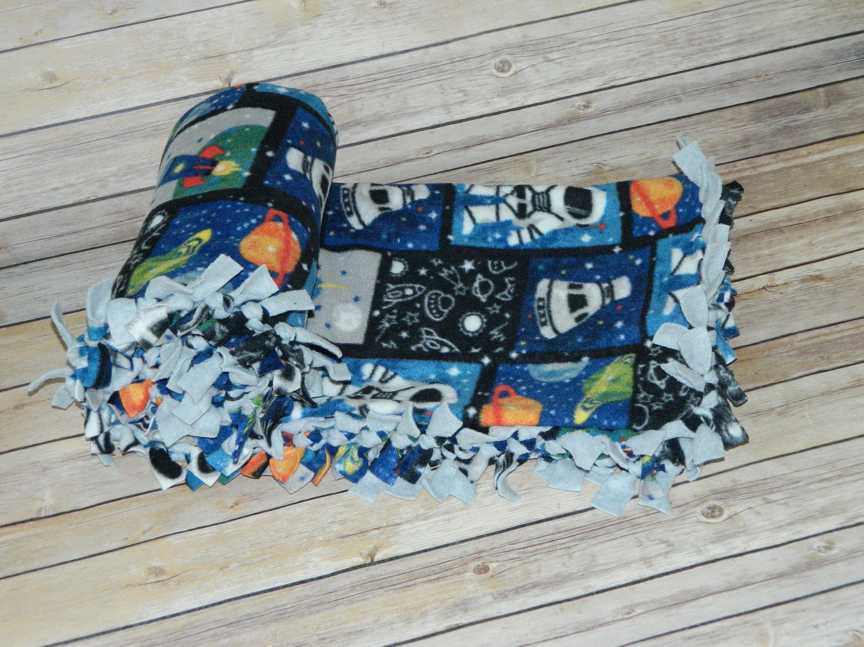 Outer space astronaut patchwork pattern antipill fleece blanket