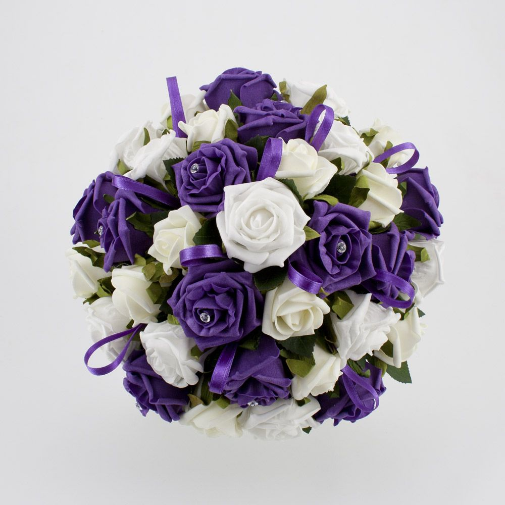 White And Bright Purple Wedding Bouquets Flowers Wedding Photos