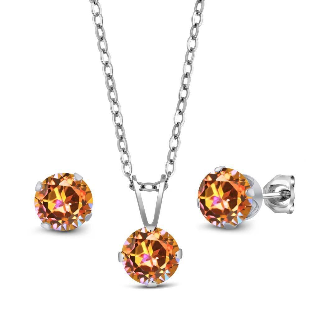ct ecstasy mystic topaz sterling silver pendant earrings