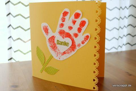 handabdruck abdruck karte danke kindergeburtstag dankeskarte kinder fingerabdruck rot blume herz