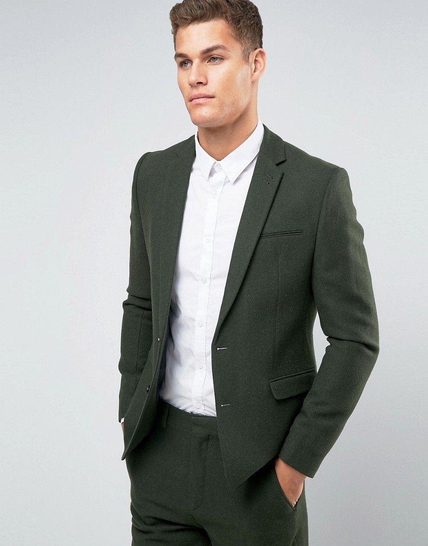 a basso prezzo 648e9 55402 ASOS Slim Suit Jacket in Khaki In 100% Wool - Green | Wedding ...