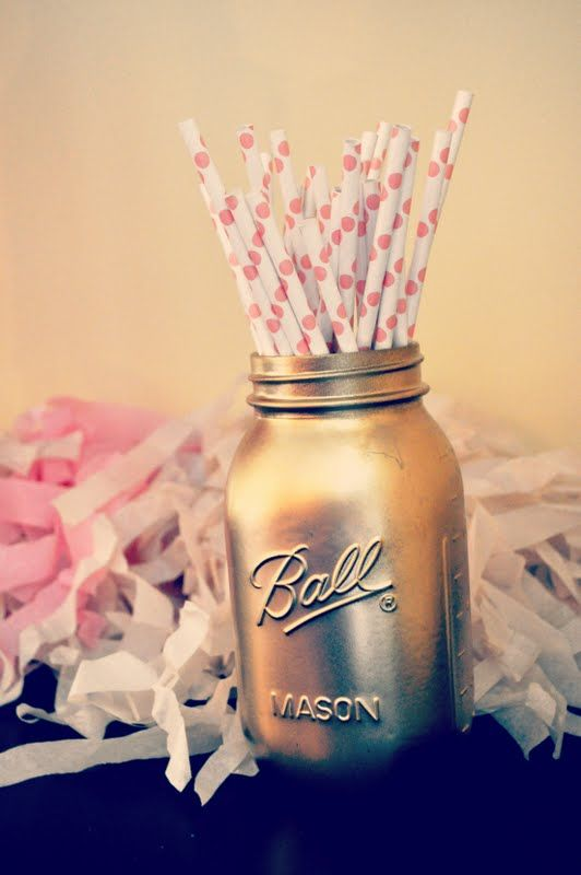 spray paint mason jars gold  i like! Kate Spade Inspired