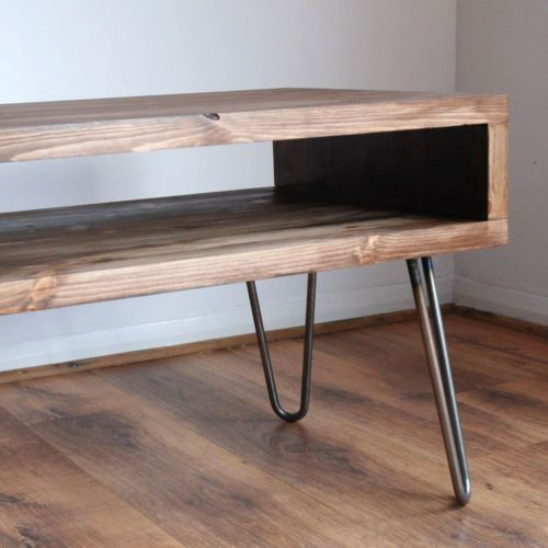 Vintage Retro Box Tv Stand W Metal Hairpin Legs Solid Wood Rustic