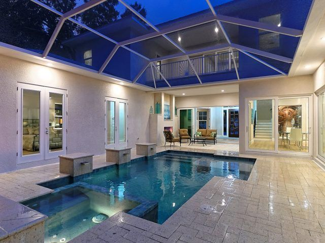 Courtyard Modern Home With Pool Spa 2 Fireplaces And An Outdoor Kitchen 1938 Hibiscus Street Home Layout Design Pool Houses House Layouts