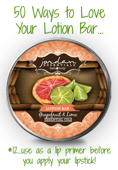 Our amazing Lotion Bar is the most unique lotion you will ever use! Made with beeswax and natural oils, your hands will be incredibly soft & smooth....but there are endless ways to LOVE your JE Lotion Bar:  #12-use as a lip primer before you apply your favorite color of Lip Butter, it'll wear longer and your lips will be soft and healthy!  #JordanEssentialsNaturalBeauty #50WaysToLoveYourLotionBar