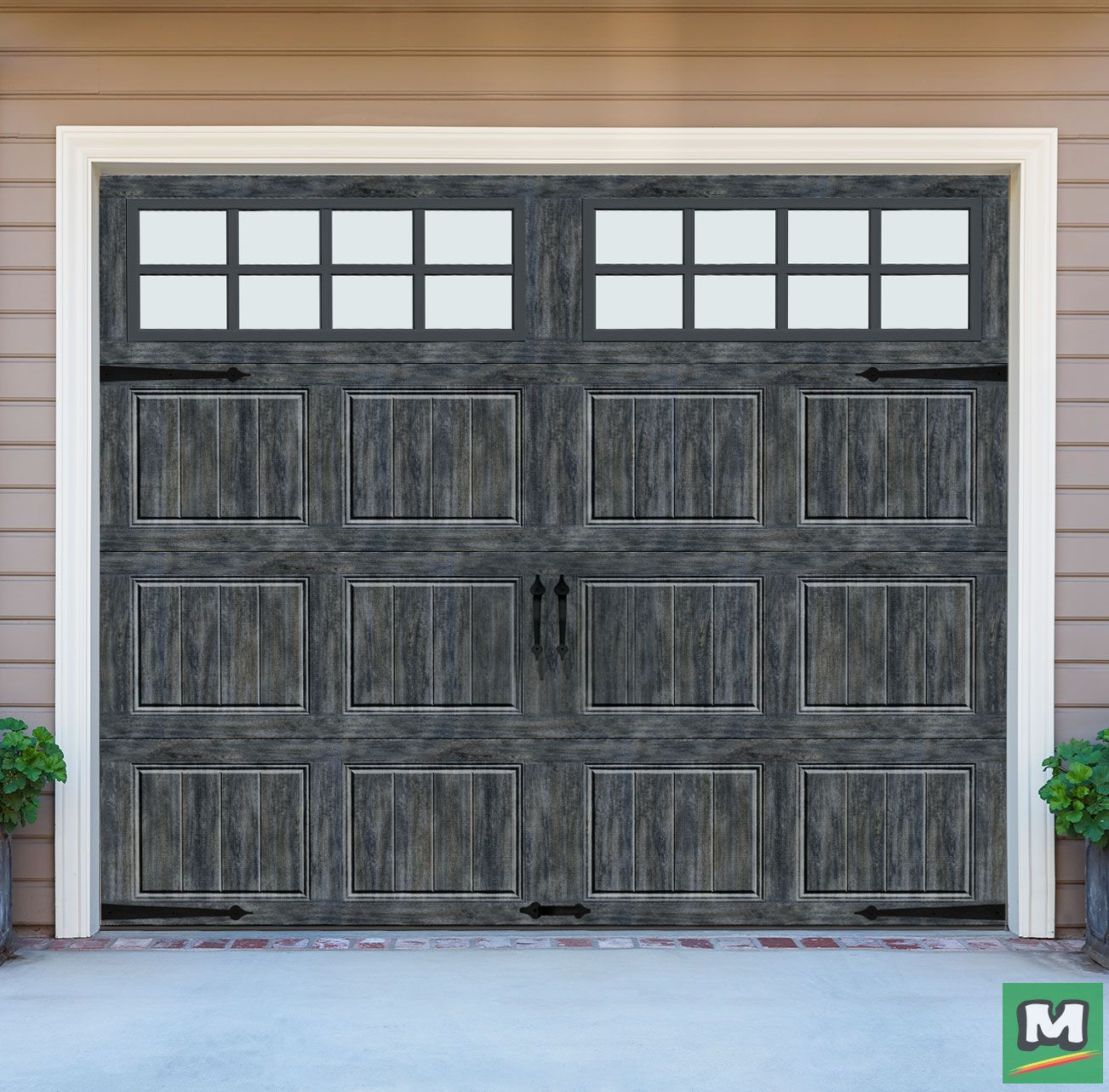 Up your curb appeal with an ideal door designer series steel panel slate garage door