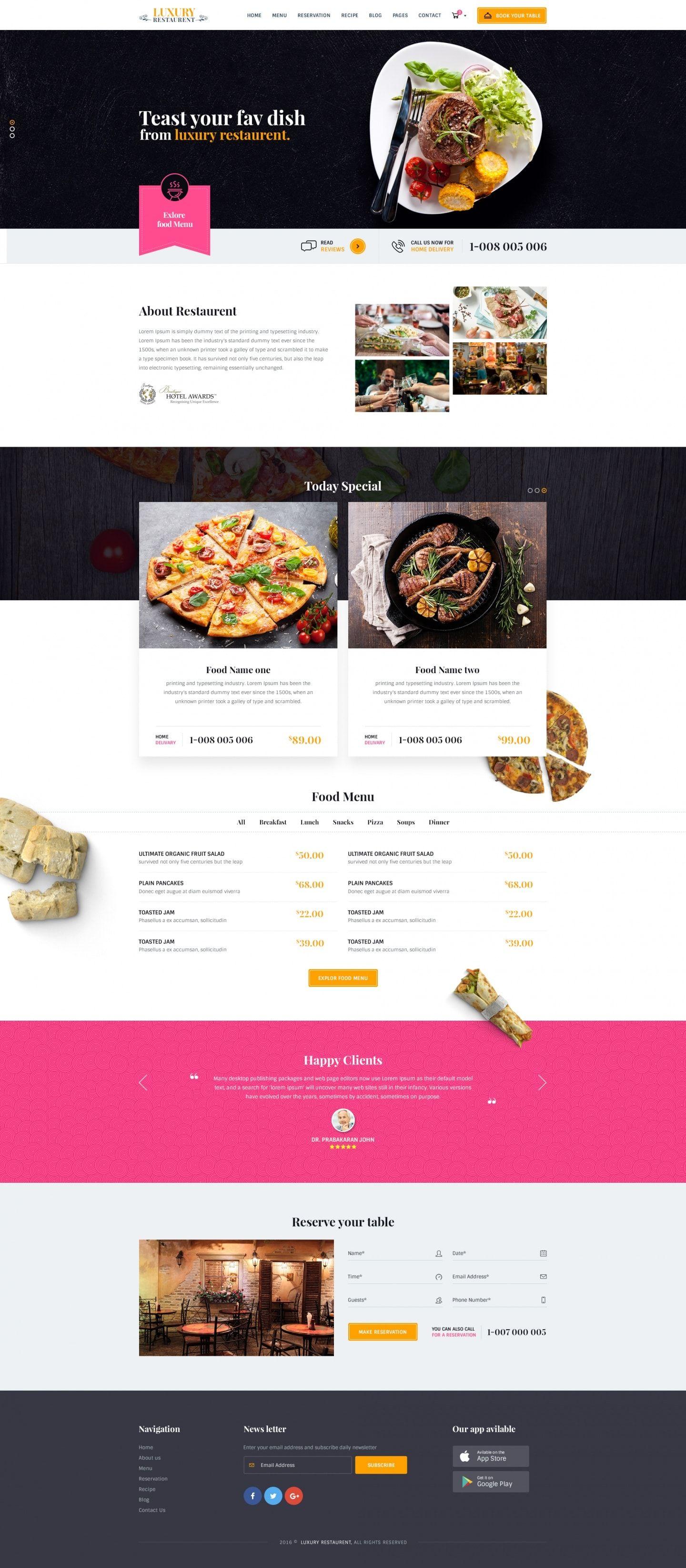 Luxury Restaurent : PSD Template - Download Free