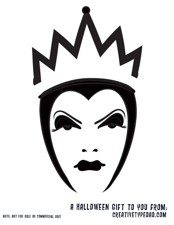 Snow white evil queen pumpkin stencil pumpkin carving for Evil face pumpkin template