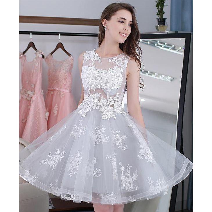 light grey homecoming dresses, applique homecoming dresses, A-line ...