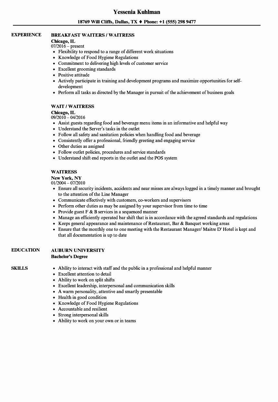 Waitress Job Description Resume Beautiful Waitress Responsibilities Resume Samples
