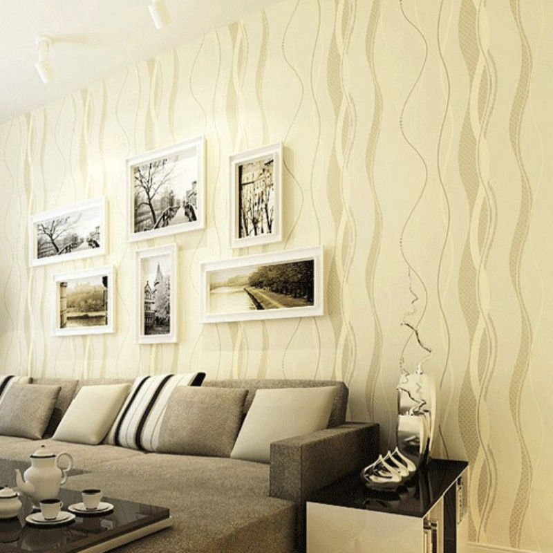 3D Wallpapers Modern Simple Curves Abstract Striped Wallpaper Non ...