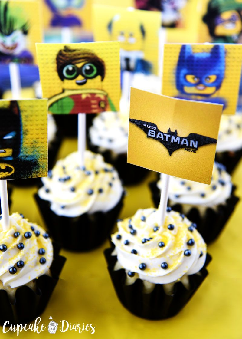 graphic regarding Batman Cupcake Toppers Printable named Lego Batman Cupcakes with Absolutely free Printable Toppers