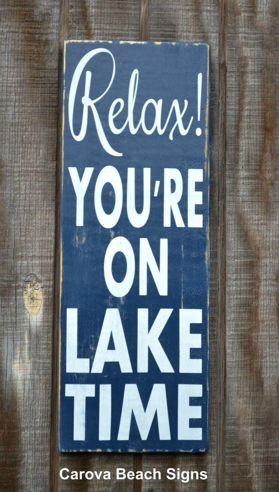 Lake House Decor Lake Sign On Lake Time Lake Cabin Cottage Signage Reclaimed Wood Hand Painted Sign Wall Hanging Lake R Lake Decor Lake Signs Lake Time