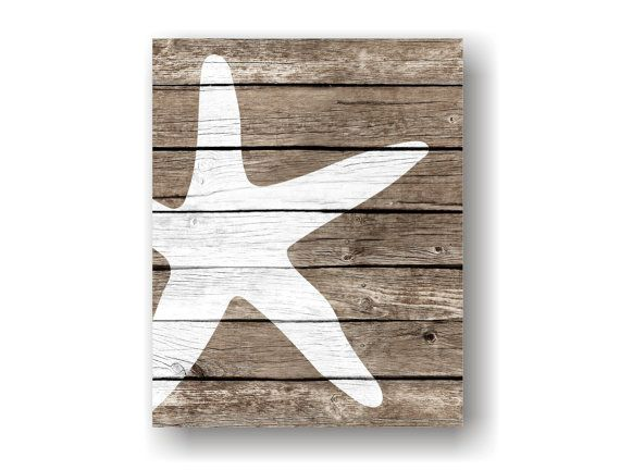 Nautical Wall Decor starfish art print - rustic nautical wall decor, faux wood, sea