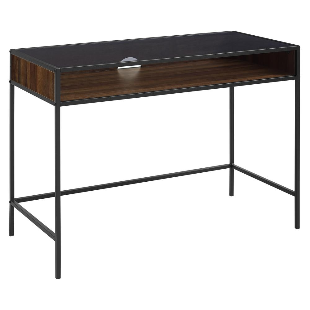 Walker Edison Furniture Company 42 In Metal And Wood Desk With Glass And Shelf Dark Walnut Hdm42jerdw Wood Metal Desk Wood Computer Desk Metal Desks
