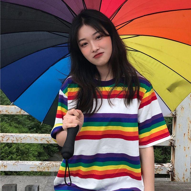 1d65fa740e82 Tee Shirt Woman Summer Tops Korean Ulzzang Harajuku Rainbow Striped T shirt  For Women Short Sleeve Tshirt Female Casual Clothing-in T-Shirts from  Women s ...