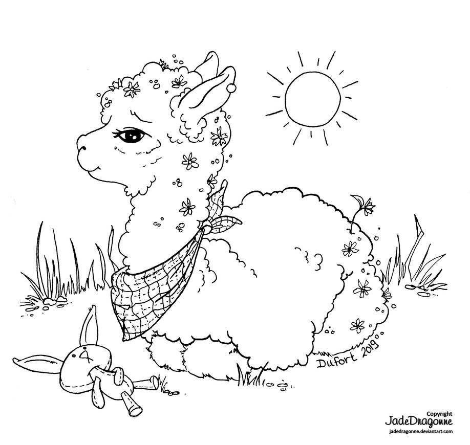 Alpaca By Https Www Deviantart Com Jadedragonne On Deviantart Coloring Pages Art Pages Coloring Books