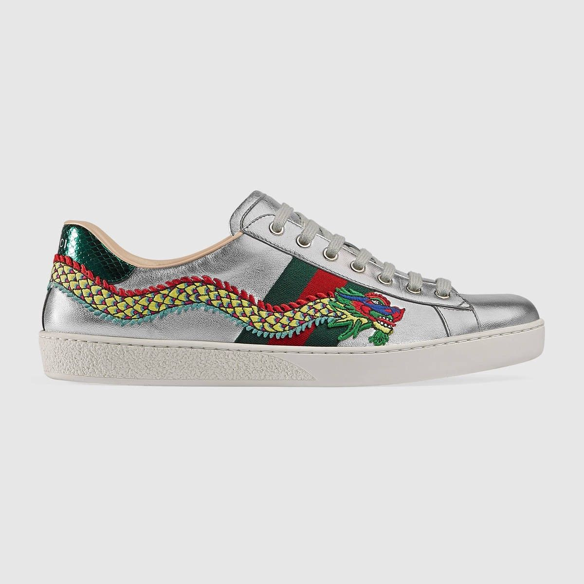 46b9cba142f GUCCI Ace embroidered sneaker - silver leather.  gucci  shoes ...