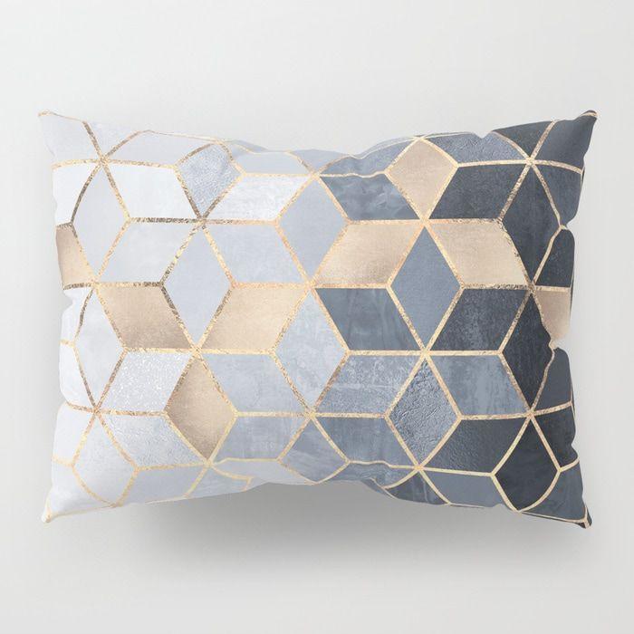 Soft Blue Gradient Cubes Pillow Sham Pillows Pillow
