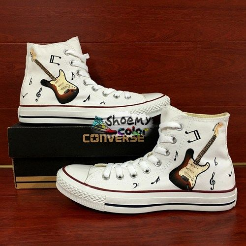 Guitar Music Notes Converse Shoes Hand Painted High Top