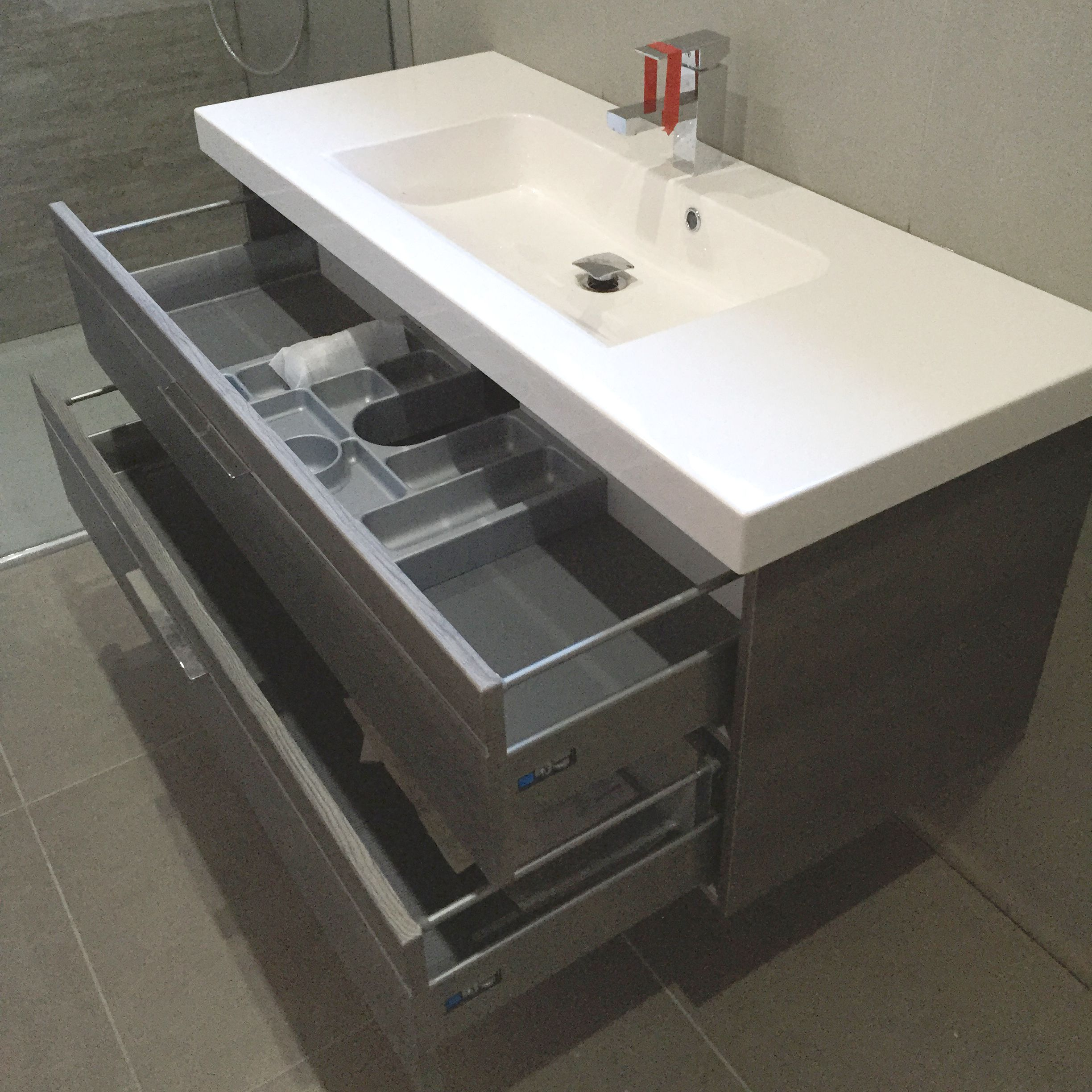 Bathroom sink and vanity unit - Pelipal Basin Vanity Unit With Internal Storage