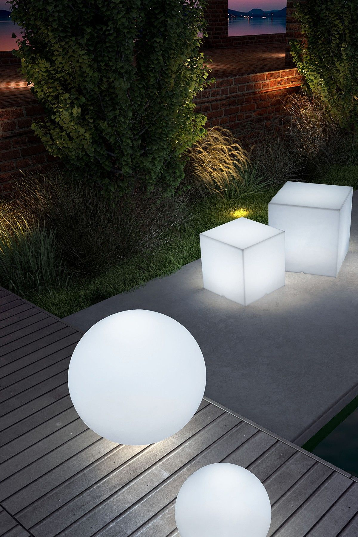 Sphere Lumen Large Multicolor Stool Contemporary Outdoor