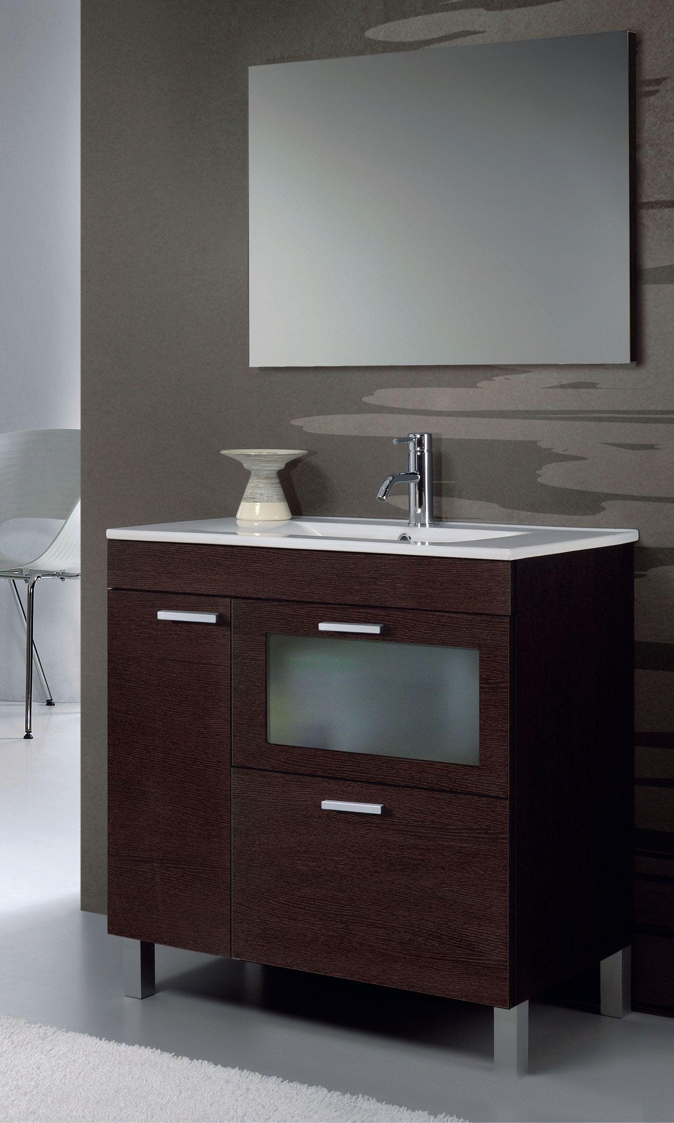 Mueble de baño en kit Hera de 80 cms wengué | Muebles de ...