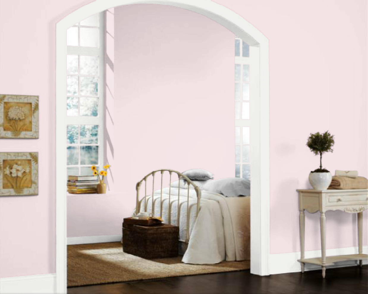 WALL COLOR: Anemone  Sherwin Williams Light Pink Walls, Baby Pink Bedroom