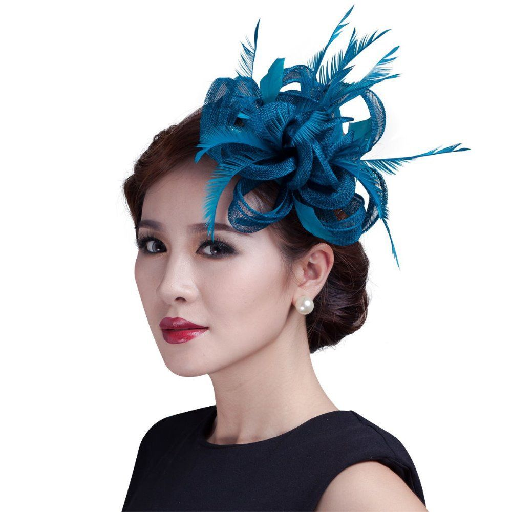 Women Teal Loop Sinamay Hair Fascinators With Feathers