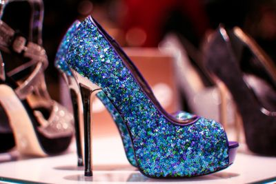 Sequins with chrome heels.