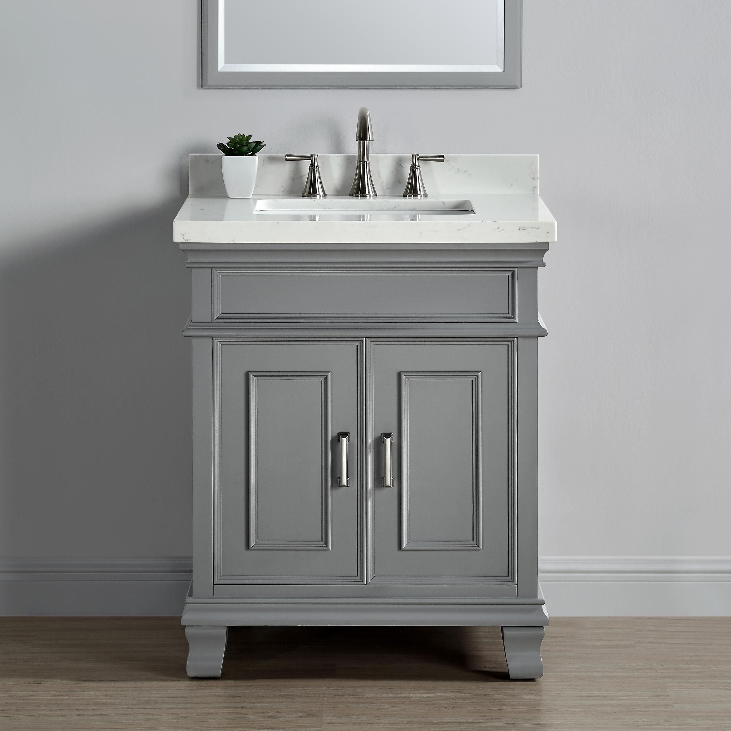 Amazon Com Mission Hills 28 Single Sink Middleton Vanity In Gray With Quartz Countertop Kitchen Dining Single Bathroom Vanity Vanity Bathroom Vanity